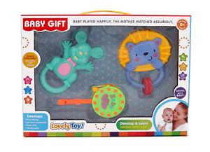 Baby Teether Rattle Set Toy 3pcs Various Cartoons animal shapes Shake Gift box