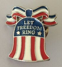 Let Freedom Ring Liberty Bell Stars And Stripes Pin Badge Vintage Authentic (N3)