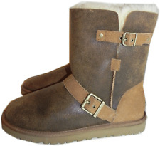Ugg Australia Dylyn Chestnut Leather Short Boot Fur Lined Bootie Biker 11 Sale