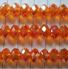 100 PCS , 4 X 6 mm Faceted Orange Crystal Gemstone Abacus Loose Beads