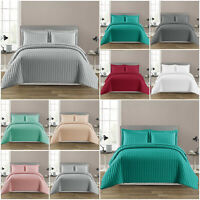 3 Piece Embossed Bedspread Quilted Bed Throw Single Double King Size Bedding Set
