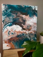 Hand painted acrylic art. 16x20, original painting, teal, rose gold, stone grey