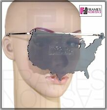 189e82d98b LINDA FARROW Jeremy Scott USA MAP Sunglasses Fashion Accessory Silver Grey