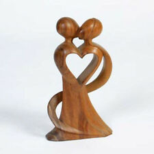 Fair Trade Hand Carved Abstract Lovers Standing Small 20cm Sculpture Statue