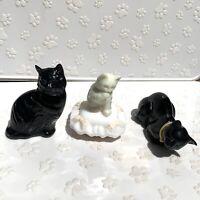 3 Vintage Avon Perfume Bottle Lot - 2 Black Cats and 1 White Cat