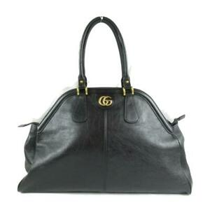 GUCCI Rebelle Large Tote hand Bag 515937 leather Black Used