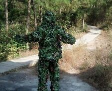 3D Woodland Camo Hunting Netting Jacket+Trousers Paintball Ghillie Suit