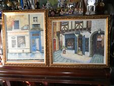Lot of 2 Original Oil PAINTING Street Scene by W. James & H. Lawrence 24x28""