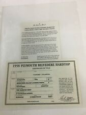 New ListingDanbury Mint 1958 Plymouth Belvedere Hardtop * Title & Care Instructions Only *