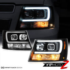 "2007-2014 Chevy Suburban Black ""NEON TUBE"" Projector Headlights Headlamps PAIR"