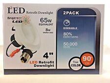 "2 pk BRIGHTEST LED 4"" Retrofit Downlight 8w = 65 watts 4000k daylight UL"