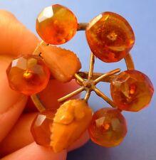 75. Natural Bi-Color Honey Cognac Baltic Amber gems vintage brooch pin flower 7g
