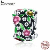 BAMOER Colorful .925 Sterling Silver Charm Spring Flower wall DIY for Bracelet