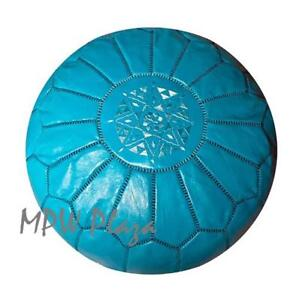 MPW Plaza Pouf, Turquoise, Moroccan Leather Ottoman (Stuffed)