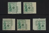 1941 Postal Savings PS12 MH-NH full OG Unused lot of 5 with plate numbers