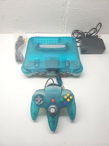 UPGRADED Nintendo 64 N64 Ice Blue Clear Funtasic w/ Official OEM remote & Cables