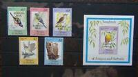 Barbuda 1984 Songbirds set & Miniature sheet MNH BIRDS
