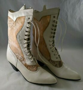 Oak Tree Farms White Lace Boots 8 1/2 B Style Steeple Color White Waxy with Box