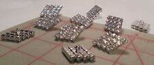 "2 Vintage Czech Glass Buttons 4 Rows Crystal Rhinestone Diamond Shape 1-1/4"" 327"