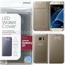 Original SAMSUNG GALAXY S7 LED View Flip Wallet Case Cover Gold, EF-NG930PFEGUS