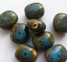 8 Glazed Ceramic Oval Beads, Blue/Green 18 mm. Jewellery Making/Beading/Crafts