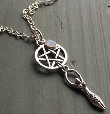 Silver Rainbow Moonstone Charm & Tibetan Goddess Pentagram Pendant Wiccan