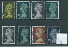 GB - MACHINS - 1977 issue - high values  - eight stamps to £5.00 - SPACEFILLERS