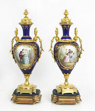 Antique Pair OrmoluMounted Royal Blue Sevres Urns Vases C1880