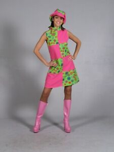 Ladies Floral 60's 70's Hippie Retro Psychedelic Fancy Dress With Hat Size 8-10