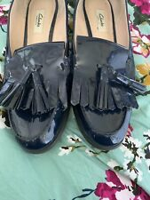 Ladies Navy Patent Clarks Shoes Size 8