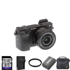 Sony Alpha a6300 Mirrorless Camera w/16-50mm Lens + 2 Batteries, 8GB & More