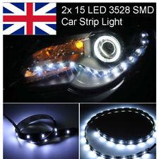 2x 15 SMD 3528 30cm White Waterproof Flexible LED Strip Light Car Lamp 12v DC
