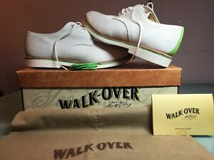 NEW Walk-Over WM6010 White/Green Suede Men's Shoes Size 10.5 M made in USA
