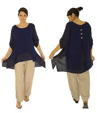 HI400BL Damen Tunika Bluse Leinen Plus Size Vintage one size blau