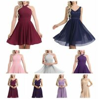 Women's Short V Neck Floral Dress Formal Bridesmaid Ball Gown Evening Party Prom