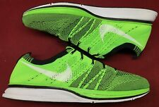 bf9bd27f6cfd Nike Flyknit Trainer + Electric Green Black White Racer 532984-301 Sz 12