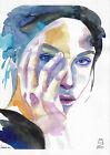 original painting A4 112FD art samovar watercolor modern femal portrait sketch