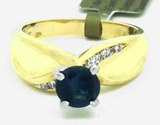 GENUINE 0.78 Cts BLUE SAPPHIRE & DIAMONDS 14k Yellow Gold RING * New with Tag *