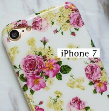 For iPhone 7 / 8 (4.7 inch) - Hard TPU Rubber Gummy Case Cover Pink Flower Roses