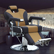 Hydraulic Reclining Barber Shop Chairs Salon Spa Shampoo Styling Equipment Brown