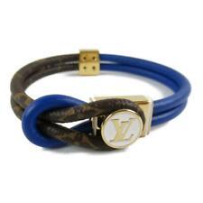 Authentic LOUIS VUITTON LVXNBA Bracelet loop it MP276E Monogram leather Blue