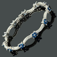 Round Flower Birthstone Blue Sapphire 18K White Gold Plated Tennis Bracelet