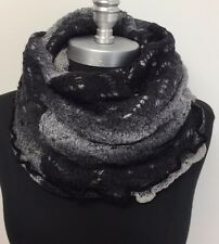 New Women 2 in 1 Infinity Scarf Knit 1-Circle Cowl Loop Wrap Soft Black/Grays