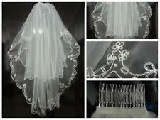 2017 New Cheap White ivory 2T Beaded Edge Bridal wedding veil with comb