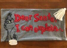 NWT Pottery Barn Teen Grinch Dear Santa I Can Explain Pillow Cover PB Teen