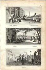 Stampa antica NAPOLI scene di vita in strada Devozione Tarantella 1834 Old print