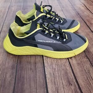 Puma Mens Replicat X Suede Tech Motorsport Mesh Yellow Black Gray Shoes Size 10