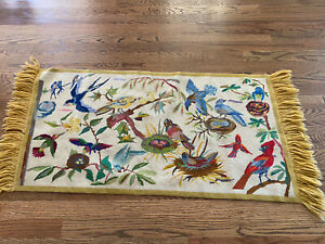 "Vintage Needlepoint Area Rug W Hanging Throw Cover Birds Flowers 20""x44"" Fringe"