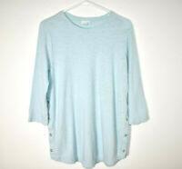 J. Jill Tunic Top Shirt Side Snaps Women's Medium Light Blue 3/4 Sleeve