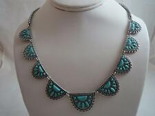 Lucky Brand oxidized silver tone~turquoise stone bib necklace, NWT